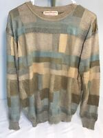 Vtg 90's Norm Thompson Mens Size L Cosby Hip Hop Style Brown Knit Sweater Biggie