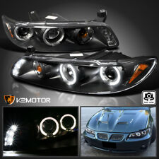 1997-2003 Pontiac Grand Prix LED Halo Projector Headlights Black Left+Right