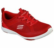 Skechers Rojo Zapatos de espuma de memoria Women Slip on Cómodas Casuales Deporte Caminar 104028