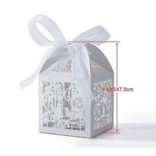 new 10/50/100x Love Bird Heart Favor Ribbon Gift Candy Wedding Party Boxes White