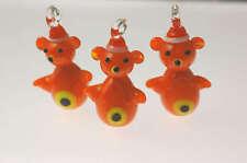 20 Christmas Lampwork Glass Pendants Teddy Bears