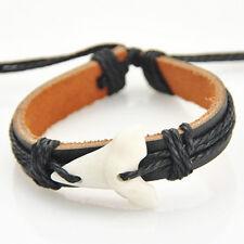 cool Tribal Style Shark Teeth Pendant Leather Bracelet