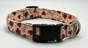 Paw Print Heart & Bone Dog Collar Adjustable Valentine Handmade Custom Designer