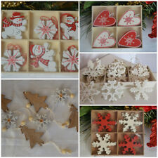 Wooden Christmas decorations tree star hearts snowflakes snowmen bunting