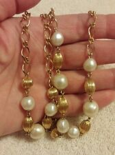 """Vintage Avon 36"""" Goldtone Beaded Chain/Faux Freshwater Pearls Necklace"""