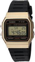 Casio Men's Digital Quartz Gold Tone Stainless Steel Black Resin Watch F91WM-9A