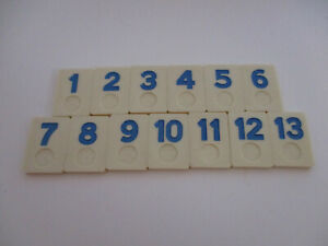 """Colorummy Blue Tiles 1 to 13 1970s labeled Made in Taiwan 1"""" x 1 1/2"""" (Rummikub)"""