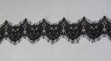 black eyelash style floral lace trim soft cotton lace dress trim Per Yard 90cm