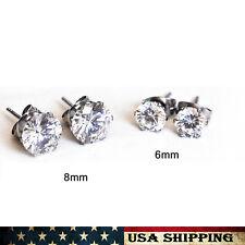Par De Mujer Hombre Cubic Zirconia Stud Pendientes 3mm-7mm redonda de acero inoxidable.