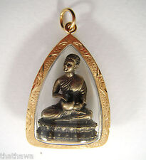 PHRA SIVALI EATING BUDDHA POSTURE PENDANT THAI SACRED AMULET PLATED GOLD FRAME