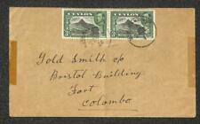 CEYLON SCOTT #279 (x2) STAMPS GOLD SMITH COLOMBO COVER 1944