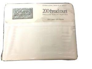 "NIP JCP White Extra Long Twin Flat Sheet 50/50 Cotton Poly Percale 66"" x 102"""