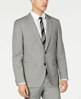 Hugo Boss Mens Blazer Gray Size 44 Short Two-Button Crosshatch Wool $445 #005