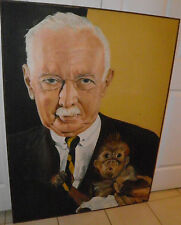 """Vintage Huge Oil Painting 49""""x37"""" WALTER CRONKITE & Friend SIGNED $300 OFF"""