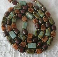 Vintage Scottish Faux Agate Glass Rainbow Pebble Bead Necklace
