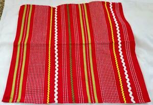 Estate TAG Embroidered Cotton Red Kitchen Towel w Rick Rack