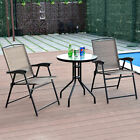 3pc Bistro Patio Garden Furniture Set 2 Folding Chairs Glass Table Top Steel New