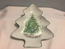 "SALEM CHRISTMAS EVE TREE SHAPED DISH LARGE 8 5/8"" HOLIDAY PLATE NUT OR CANDY"