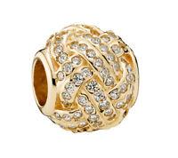 Genuine Pandora Sparkling Love Knot Charm 14K Gold Vermeil 791537CZ