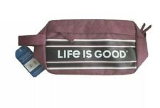 LIFE IS GOOD Mahogany Brown Zippered Accessory Bag AF-Day Dopp Kit LIG Stripes