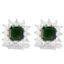 Sterling Silver 3.9ctw Chrome Diopside Studs Earring  0.50'L