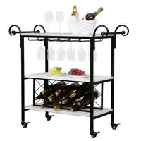 Modern 3-Tier Rolling Bar Cart Rolling Serving Bottle Storage Locking Casters