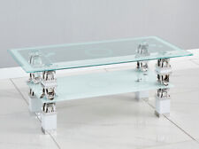 White Modern Rectangle Glass/Chrome For Living Room Coffee Table & Lower Shelf