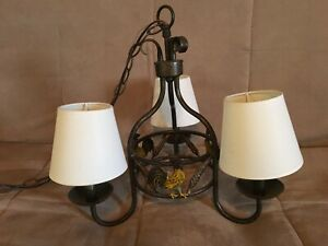 Country Kitchen Chandelier w/ 3 Metal Roosters and feathers 3 shades in 2 colors