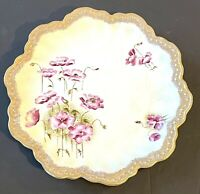 Hand Painted German Scalloped Plate W/ Purple Flowers + Gold Trim