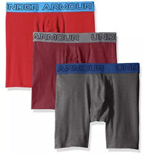 Under Armour 1277279 601 Cotton Stretch BoxerJock 3-Pack Red Carbon Heather XL