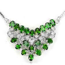 Sterling Silver 925 Genuine Natural Chrome Diopside Necklace 18.5 Inches