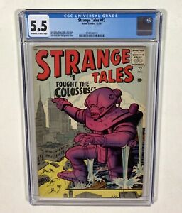 """Strange Tales #72 CGC 5.5 """"I Fought the Colossus"""" (Jack Kirby, Steve Ditko) 1959"""