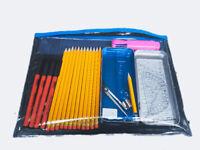 37 Pcs School Stationary Math Set Kids Geometry HB Pencils Ruler Stationery SET