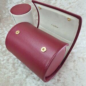 "Authentic Cartier Watch Travel Case Bordeaux Leather 4.5""x3.25"" Unused Condition"
