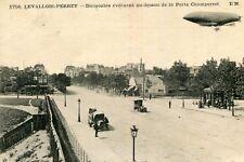 Carte LEVALLOIS PERRET Dirigeable évoluant au dessus de la Porte Champerret