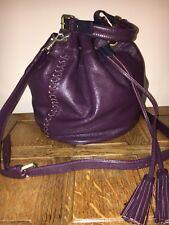 Boden Purple Blue Leather Bucket Cross Body RRP£140 Designer Drawstring Shopper