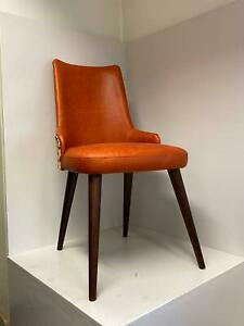 luxury dining chair ,solid wood frame chair , Real leather side chair
