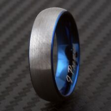 """CLOSEOUT! Tungsten Blue w/ Silver Brushed Ring Size 9 Engraved """"I Promise"""""""