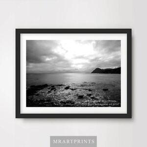 BLACK WHITE SEASCAPE SEA OCEAN Art Print Poster Horizon Water Sky Picture Design