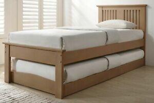 3FT OAK EFFECT WOOD GUEST BED TRUNDLE, UNDERBED WOODEN OVERNIGHTER