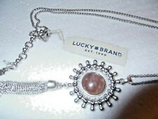 248b955bd NWT Lucky Brand Silver Tone Dusty Pink Stone & Marcasite Accent Tassel  Necklace