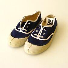 Authentique vintage paire de chaussures TOILE ENFANT - BLEU T31  Neuves France
