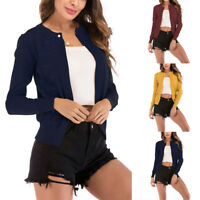Women Pure Knit Casual Cardigan Round Neck Long Sleeve Ladies Pearl Button Tops