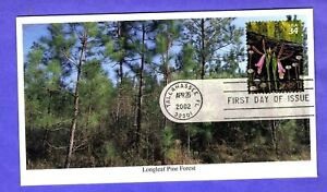 2002 #3611i 34c Longleaf Pine Forest - Rosebud Orchid Mystic cachet FDC