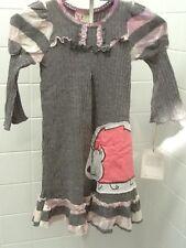 Designer Twirls & Twigs Girls Size 6 Grey Knit Hedgehog Dress New BNWT