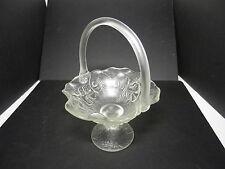 "Fenton Water Lily Handled Footed Basket Crystal Velvet 9 1/2"" T ca 1977-80's Tm"