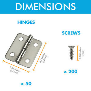 Mini Box Hinges 50 Sets and 200 Replacement Screws for Wood Jewelry Box