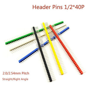 1/2x40P Male Pins Header 2.0/2.54mm Connector Strip Straight/Right Angle Socket