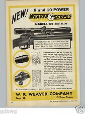 1950 PAPER AD Weaver Gun Rifle Scope Scopes K8 K10 Dick Culler Sporting Store