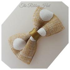 "Polka Dot Burlap Mini Bow Tie-4.5cm(1 3/4"")Self Adhesive-Pkt.6/12 -Wedding Bow"